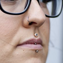 Philtrum piercing with Alchemy Adornment jewerly