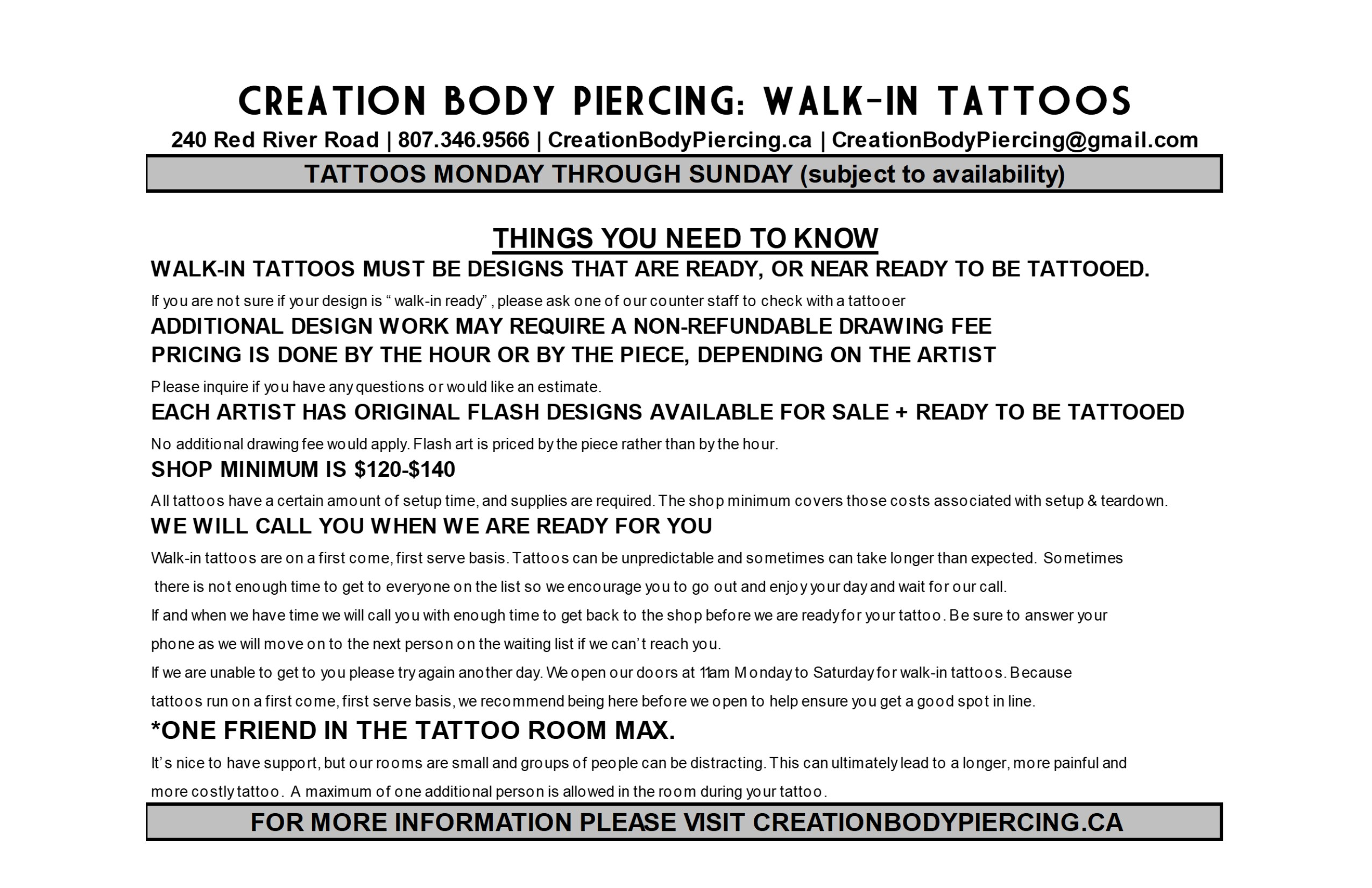 Walk-In Tattoo Info