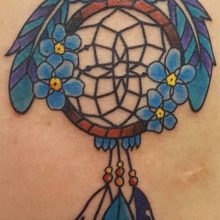 Owl dreamcatcher tattoo by Ren