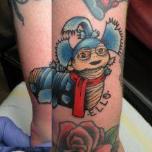 Tattoo by James Jameserson, labyrinth worm