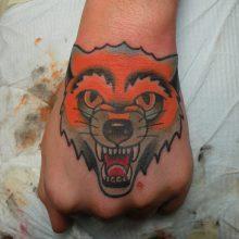 Tattoo by James Jameserson, fox on hand