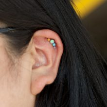 Helix piercing with rainbow Anatometal cluster