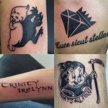 Kewpie, Porky, Trinity tattoos by Renato Marino