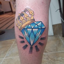 Diamond tattoo with crown by Ren