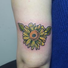 Yellow flower tattoo by Ren