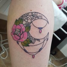 Crescent moon and pink rose tattoo by Ren