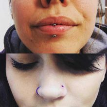 vertical lip and nostril piercings by Tabatha Andreason