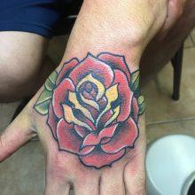 Teemu rose hand tattoo