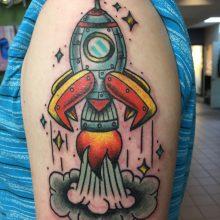 Teemu rocket ship tattoo