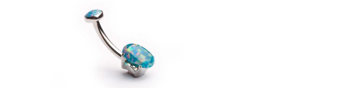 Anatometal Blue Opal Navel Bar