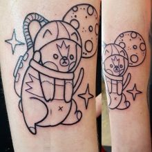 Space kitty tattoo by Ren