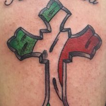 Italian cross tattoo by Ren