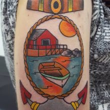 Anchor landscape tattoo by Ren