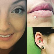 nostril, conch and side lip piercings by Tabatha Andreason