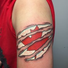 Teemu Canadian flag tattoo