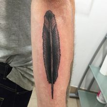 feather tattoo by Teemu Kilz