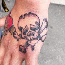 skull on hand tattoo by Teemu Kilz