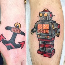 anchor and robot tattoo by Teemu Kilz
