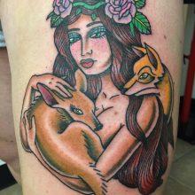 Teemu lady holding fawn tattoo