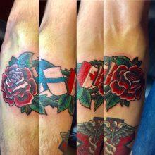 Teemu Finland and Canadian flag tattoo