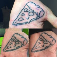 Teemu palm pizza tattoo