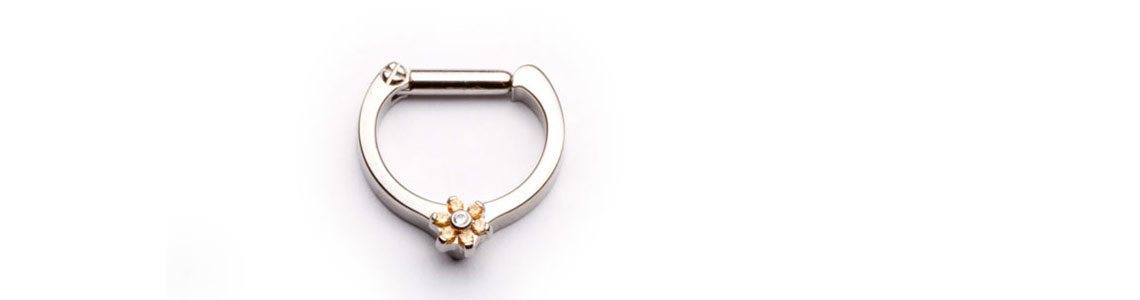 Industrial Strength Septum Clicker with champagne flower threaded end.