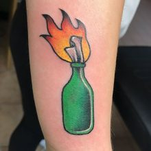 Teemu Flaming Bottle Tattoo
